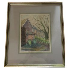 1950s Framed Original Pastel by Joan Mont