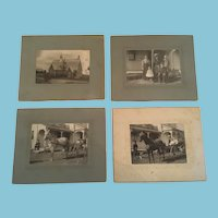 Early 1900s Group of Four Matted Sunday Meeting Photographs
