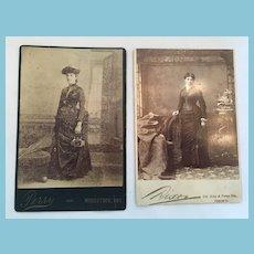 Circa 1900s Two Studio Photographs of Fashionable Ladies