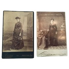 Circa 1900s Two Studio Photographs of Fashionable Ladies