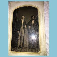 "Mid-19th Century 3"" x 2"" Studio Tintype Photograph of Two Gentlemen"