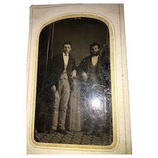 "Mid-19th Century 3"" x 2"" Studio Tintype Photograph of Two Gentlemen"