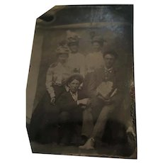Mid-19th Century Studio Tintype of a Group of Five in their Sunday Best