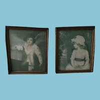 Pair of Early Romantic Children Prints in Carved Wooden Frames.