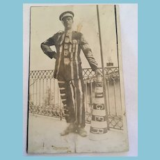 Roaring 20's Photo Postcard of Private Coleman 'The Eiger Foot Ball Mascot'