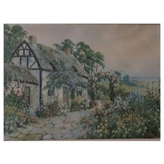 Early Romantic Print of a Thatched Roof Country Cottage signed by J. Hallord Ross