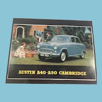 "1950s Mint-Under-Glass ""Austin A40 Cambridge"" Vintage Car Advertising"