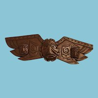 Vintage First Nations Eagle Wing Totem Dark Wood Carving