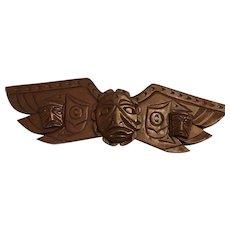 Vintage First Nations Eagle Wing Totem Dark Wood Carving