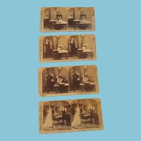 Circa Late 1800s Group of Four Stereoscope Cards Tell a Naughty Story