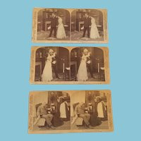 1900 Group of Three Stereoscope Cards Telling a Romantic Story of War