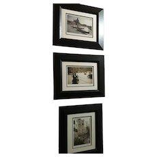 Three Vintage Jesse Kalisher Framed Signed Photo Prints of Venice