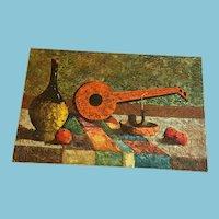 'Chianti and Mandolin' Original Still-Life Oil on Wrapped Canvas by H. Tyman