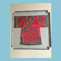 Double Matted  3-D Embroidered Asian Silk Kimono Wall Art