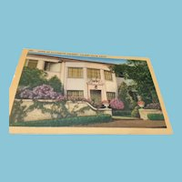 Circa 1930–1945  Hollywood Unused Postcard of the Home of Claudette Colbert