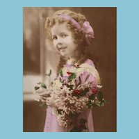 """1908 Hand Tinted French Postcard of a darling """"Shirley Temple"""" look-a-like"""