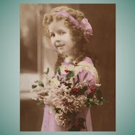 "1908 Hand Tinted French Postcard of a darling ""Shirley Temple"" look-a-like"