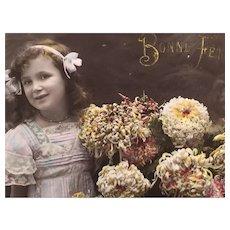 Circa 1908-10 'Happy Birthday Baby!' Edwardian Hand-Tinted French Postcard