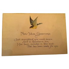 Signature Gift - Century Old New Year Unused  Bluebird Postcard