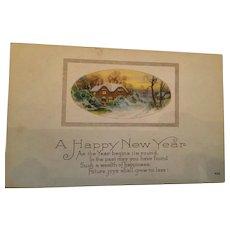 Signature Gift - Century Old New Year Unused Winter Scene Postcard
