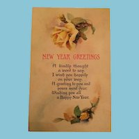 Signature - Century Old Unused Floral New Year Postcard of Friendship Yellow Roses