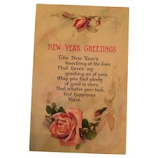 Signature - Century Old Unused Floral New Year Postcard of Sweetheart Pink Roses