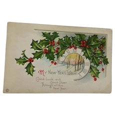 Signature - Century Old  Unused Embossed New Year Postcard with a Clock
