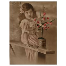 1912 'Pretty Young Lady' Edwardian Hand-Tinted French Postcard