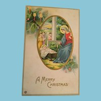 Signature Gift - Century Old Unused Christmas Nativity Scene Postcard
