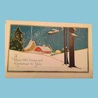 Signature Gift is a Century Old Winter Scene Unused Embossed Christmas Postcard
