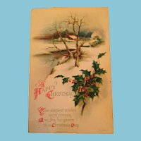 Signature Gift - Century Old Unused Winter Scene Christmas Postcard