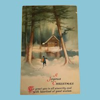 Signature Gift - Century Old Unused Winter Scene Christmas Postcard