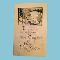 Signature Gift - Century Old Winter Scene Unused Christmas Postcard