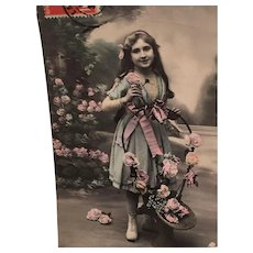 Circa 1908 Edwardian 'Romantic Girlie' Hand-Tinted French Postcard