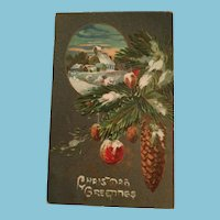 Signature Gift - Century Old Unused Embossed Christmas Themed Postcard