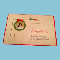 Century Old New Year Traditional Holiday Design Postcard Marked 7013