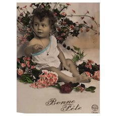 Circa 1908-1910 'Beautiful Baby' Edwardian Hand-Tinted French Postcard