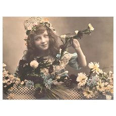 1910 Romantic Girl Edwardian Hand-Tinted French Postcard