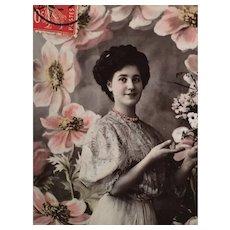 1909 'Glamor Girl' Edwardian Hand Tinted French Postcard