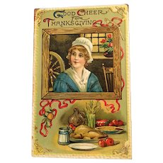 Turn of the 20th Century Embossed Unused Thanksgiving Postcard