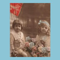 Circa 1908 Beautiful Children Edwardian Hand-Tinted French Postcard