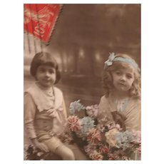 Circa 1908 Beautiful Children Edwardian Hand-Tinted French Postcard