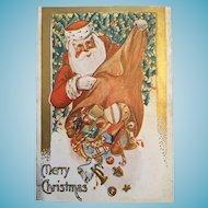Century Old Embossed Christmas Postcard with Santa
