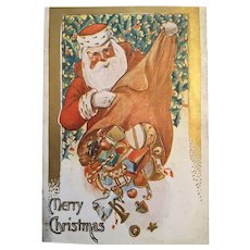 Century Old Embossed Christmas Postcard with Santa