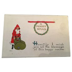 1913 Embossed Christmas Santa Postcard