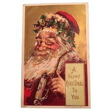 1908 Embossed Christmas Postcard with Santa and a Fancy Pipe