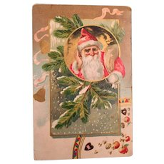 1906  Christmas Postcard with Santa Listening Closely
