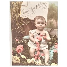 Circa 1908 'Love the Flowers' Hand-Tinted French Postcard