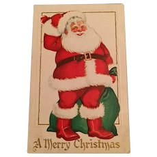 1925 Embossed Christmas Postcard with Santa Scratching his Head