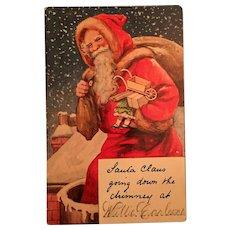 Century Old Santa Claus Going Down the Chimney Stocking Identifier Postcard